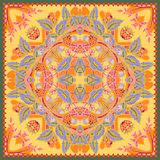 Authentic silk neck scarf or kerchief square pattern design in ukrainian style for print on fabric, vector illustration Stock Photo