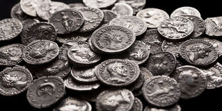 Authentic silver coins of ancient Rome Royalty Free Stock Photography