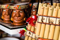 Authentic south american panflutes  in local market in Peru. Royalty Free Stock Image