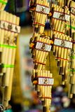 Authentic south american panflutes  in local market in Peru. Stock Images