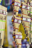 Authentic south american panflutes in local market in Peru. Royalty Free Stock Photography