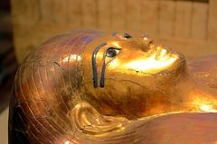 Authentic tomb. Decorated and conserved tomb of an authentic mummy stock photos