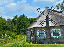 Authentic Ukrainian ancient house with thatched roof. Stock Images