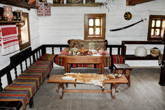 Authentic Ukrainian house. The table is set for a meal Royalty Free Stock Images