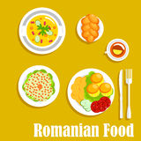 Authentic vegetarian dinner of romanian cuisine Royalty Free Stock Photos