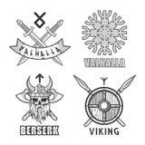 Authentic vikings themed logo isolated monochrome illustrations set Royalty Free Stock Photos
