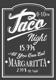 Authentic Vintage Style Taco Night lettering chalkboard design. Royalty Free Stock Photography