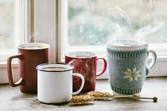 Authentic warm winter cups of steaming tea Stock Image