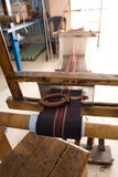 Authentic weaving machine, which weave patterns on fabric Stock Photo