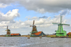 Authentic windmills in the Netherlands Royalty Free Stock Images