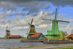 Authentic windmills in Holland Stock Photo