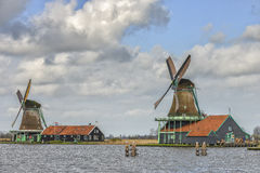 Authentic windmills of the Netherlands Stock Photo
