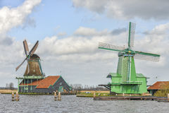 Authentic windmills of the Netherlands Royalty Free Stock Photos