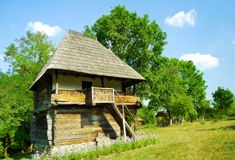 Authentic wooden house from Romania. Beautiful nature spot with traditional old wooden house Stock Images