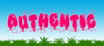 AUTHENTIC written with pink balloons on blue sky and green grass background. Royalty Free Stock Images