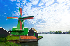 Authentic Zaandam mills on the water channel Royalty Free Stock Images