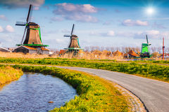 Authentic Zaandam mills on the water channel Stock Images