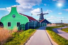 Authentic Zaandam mills in Zaanstad village. Stock Image