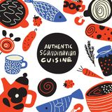 Authentical scandinavian kokkonst Utdragen illustration för hand av olik scandinavian mat Redigerbar vektorillustration vektor stock illustrationer