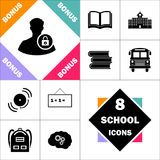 Authenticate computer symbol. Authenticate Icon and Set Perfect Back to School pictogram. Contains such Icons as Schoolbook, School  Building, School Bus Royalty Free Stock Photo