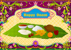 Authenticate South Indian food preparation for Happy Onam celebration. In vector Stock Photography