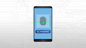 Authentication through Fingerprint, Mobile security concept animation.