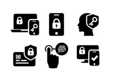 Authentication icons set 02 in Black and White. Security identity authentication icons set 02 in Black and White Royalty Free Stock Images