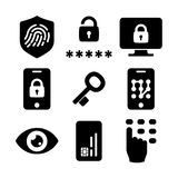 Authentication icons set 03 in Black and White. Security identity authentication icons set 03 in Black and White Stock Photography