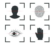 Authentication of identity. Face recognition, fingerprint, retina, hand royalty free illustration