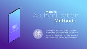 Authentication. Modern biometric fingerprint authentication method. Isometric concept of modern digital security.  Stock Photography
