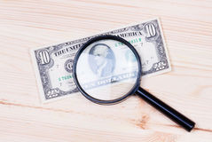 Authentication of ten dollars banknote Stock Image