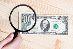 Authentication of ten dollars banknote Royalty Free Stock Images
