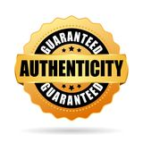 Authenticity guaranteed gold vector emblem. Isolated on white background Royalty Free Stock Photography