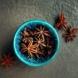 Authentiek Blauw Komhoogtepunt van Anise Stars Stock Afbeeldingen