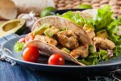 Authentieke Mexicaanse taco's met kip en salsa met avocado, tomaten en Spaanse pepers Royalty-vrije Stock Fotografie