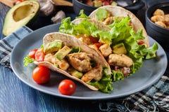 Authentieke Mexicaanse taco's met kip en salsa met avocado, tomaten en Spaanse pepers Royalty-vrije Stock Afbeelding