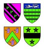 Authentieke middeleeuwse wapenkundeschilden Stock Afbeelding
