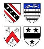 Authentieke middeleeuwse wapenkundeschilden Royalty-vrije Stock Afbeeldingen