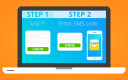 Authentification par l'intermédiaire de SMS illustration stock