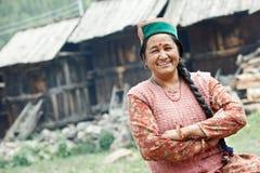 Authentische indische Landdorfbewohnerfrau Lizenzfreie Stockfotos
