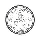 Authentische thailändische Massage Thailändische Massage des Stempels im Grau Lizenzfreies Stockfoto