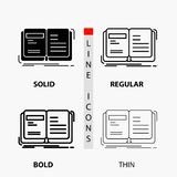 Author, book, open, story, storytelling Icon in Thin, Regular, Bold Line and Glyph Style. Vector illustration. Vector EPS10 Abstract Template background royalty free illustration