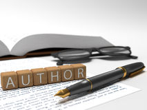 Author. Dices containing the word , a book, glasses and a fountain pen royalty free illustration
