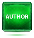 Author Neon Light Green Square Button vector illustration