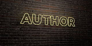 AUTHOR -Realistic Neon Sign on Brick Wall background - 3D rendered royalty free stock image Stock Photo