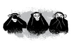 The author's illustration. Three monkeys. Stock Images