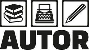 Author tools - book, typewriter, pen - german Stock Photography