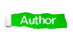 Author word concept. Author word appearing behind green torn paper.  stock photography