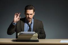 Author working at the typewriter Stock Photos