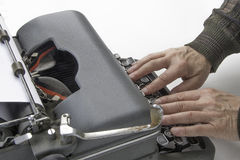 Author Working on Typewriter Royalty Free Stock Photos
